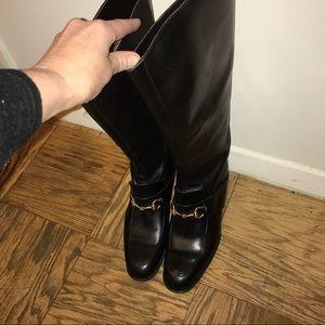 "Gucci Brown Horsebit Boots Size 10 1/2"""